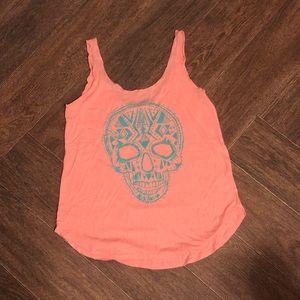 Billabong skull women's small pink tank top